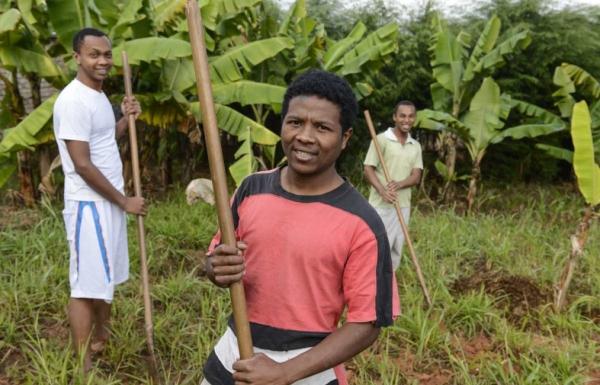 Priesteranwärter bei der Gartenarbeit im Priesterseminar der Steyler Missionare in Madagaskar