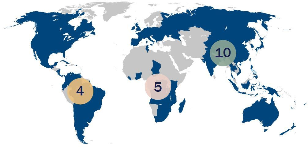 Karte mit den Projekten der Arnold-Janssen-Stiftung